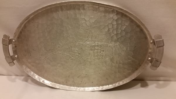 Tray - Silver Hammered Grape Two Handle