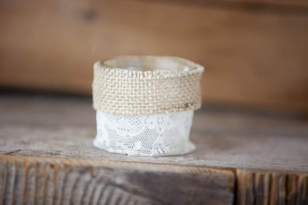 Votive - Burlap and Lace