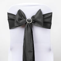 Chair Tie - Charcoal satin