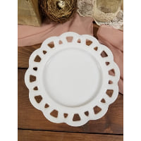 Pedestal - Milk Glass Scalloped Cut Out Edge Small