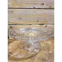 Pedestal - Clear Glass Pie Line Raised Edge