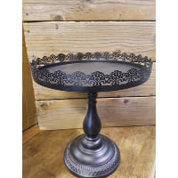 Pedestal - Black Lace Edge Round Tall