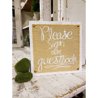 Sign - Guestbook on burlap and wood