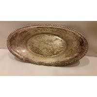 Tray - Silver Tarnished Oval Bowl