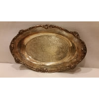 Tray - Silver Tarnished Oval Cherry Edge