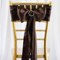 Chair Tie - Brown chocolate satin