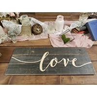 Sign - LOVE burnt wood script