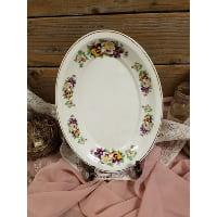 Plate - Vintage Oval Pansies