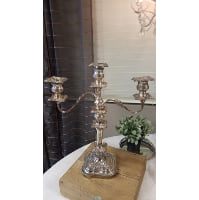 Candelabra - Three Candle Silver Ornate