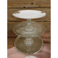 Pedestal - Three Tier Gold Rim Floral