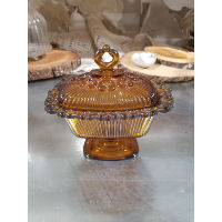 Butter Dish - Amber with lid