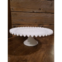 Pedestal - Milk Glass Ruffled Edge