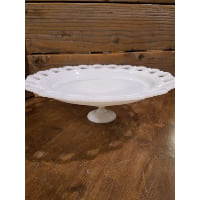 Pedestal - Milk Glass Scalloped Cut Out Edge Large