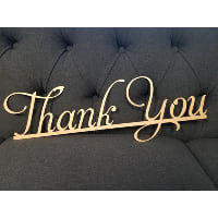 Sign - Thank You Gold Metal Script