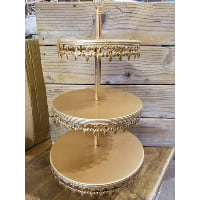 Pedestal - Three Tier Gold Fleur de Lis Skirted