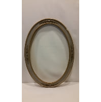 Frame - Grey/Gold Floral Oval Empty
