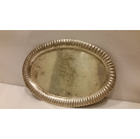 Tray - Silver Oval Fork Crimped Edge