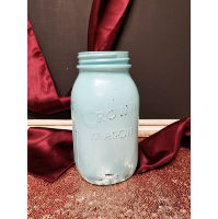 Mason Jar - Blue Painted Quart