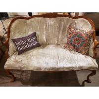 Couch - Seafoam Velvet Barrel Loveseat