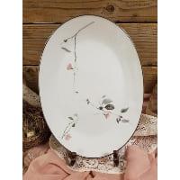 Plate - Cherry Blossom Silver Rim Oval
