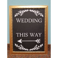 Sign - Wedding This Way Gold Frame