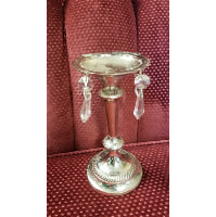 Candle Holder - Pillar Silver w/Crystals