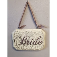 Sign - Bride / Mrs cream, brown w/ pearls