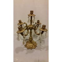 Candelabra - Five Candle Antique Gold w/Crystals