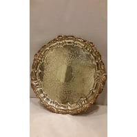 Tray - Silver Round Ornate Three Footed