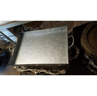 Tray - Large Galvanized Rectangle Two Handle
