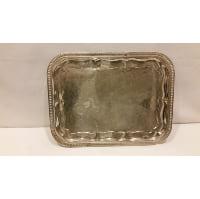 Tray - Silver Rectangle Floral Design