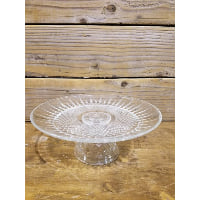 Pedestal - Cut Glass Starburst Crystal Lace Foot Wide