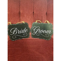 Sign - Bride/Groom Black Fancy Dot Set