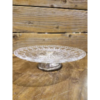 Pedestal - Clear Glass Starburst Circles Silver Foot