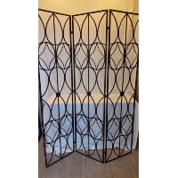 Screen - Black Wrought Iron Tri-fold