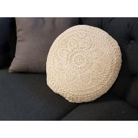 Pillow - Round crochet ivory
