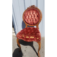 Chair -Old Shabby Parlor Burgundy Rose