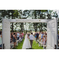 Arch - Simple White Double Door Entry