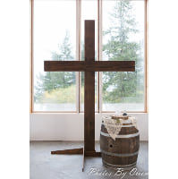 Cross - Free standing dark stained