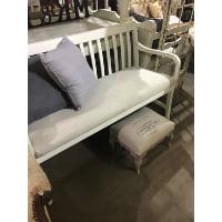 Bench - White Wood Slat Back