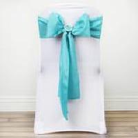 Chair Tie  - Turquoise satin