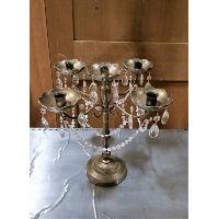 Candelabra - Five Candle Gold Crystal & Strand