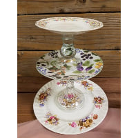 Pedestal - Three Tier Floral Berry Floral