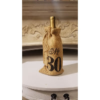 Table Number - Burlap bag on gold wine bottle