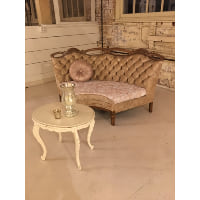 Couch - Tufted Curved Back Ivory Loveseat