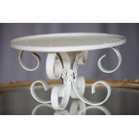 Pedestal - White Swirly Metal Stand