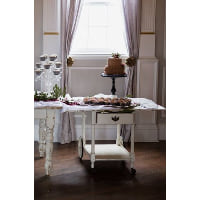 Table - White Tea Cart w/Drawer