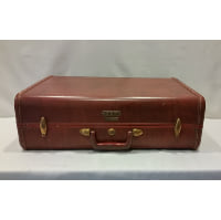 Suitcase - Leather Red Brown Hard Case