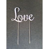 Sign - Love Metal script Cake Topper