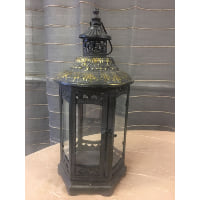 Lantern - Six Sided Gold Brush Top Black
